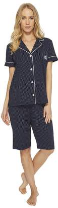 Lauren Ralph Lauren Short Sleeve Notch Collar Bermuda PJ Set Women's Pajama Sets