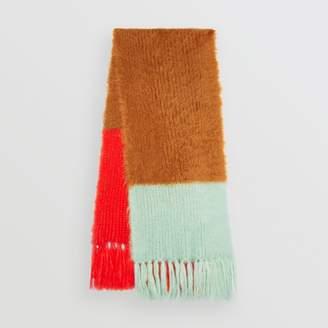 Burberry Colour Block Chunky Knit Mohair Silk Scarf
