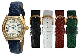 Peugeot Women's 14k Plated Tank Crystal Bezel Five Easy Release Interchangeable Leather Bands Watch Gift Set 679G