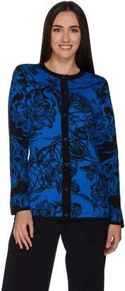 Dennis Basso Floral Jacquard Cardigan with Rib Knit Trim