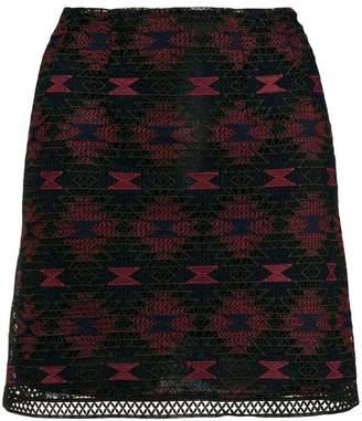 Pinko patterned lace mini skirt
