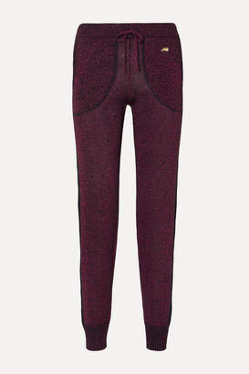 Bella Freud Queen Midas Metallic Ribbed Stretch-knit Track Pants - Pink