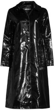 Jane Post High Shine Slicker Long Coat