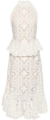 Lover Cotton-blend Lace Peplum Midi Dress