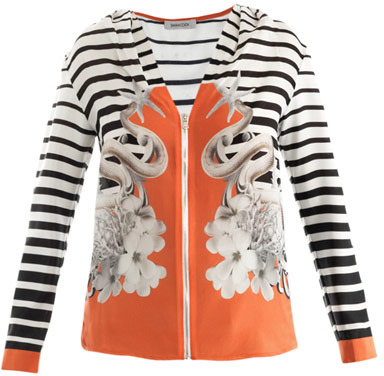 Emma Cook Serpent and stripe-print top