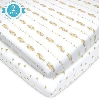 T.L.Care Tl Care TL Care 2-pk. Patterned Jersey Knit Portable/Mini Crib Sheet
