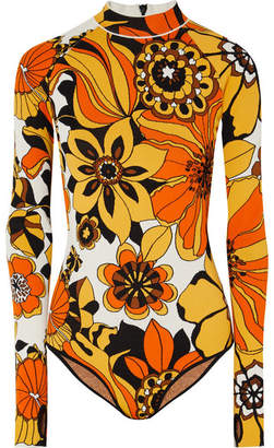 Kwaidan Editions - Floral Jacquard-knit Bodysuit - Orange