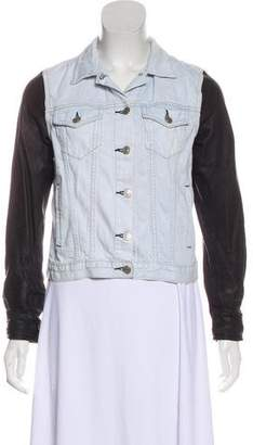 Rag & Bone Faux Leather-Accented Denim Jacket