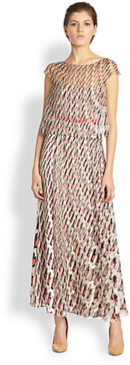 Carolina Herrera Diamond Swirl-Print Silk Dress