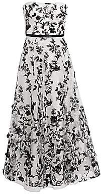 Marchesa Women's Floral-Embellished Fit-&-Flare Gown