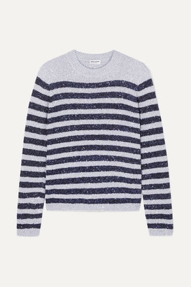 Saint Laurent Striped Sequined Stretch-knit Sweater - Silver