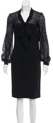 Valentino Lace-Accented Knee-Length Dress w/ Tags