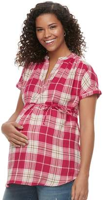 f0b68b72817df A Glow Maternity a:glow Plaid Cotton Top