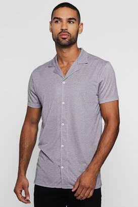 boohoo Polka Dot Short Sleeved Revere Shirt