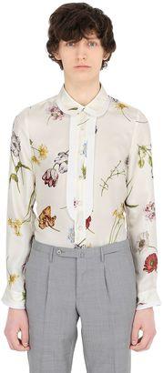 Gucci Pleated Floral Printed Silk Twill Shirt