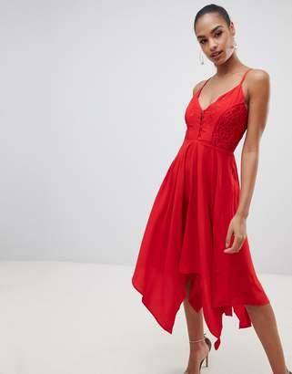 AX Paris strappy red hanky hem dress