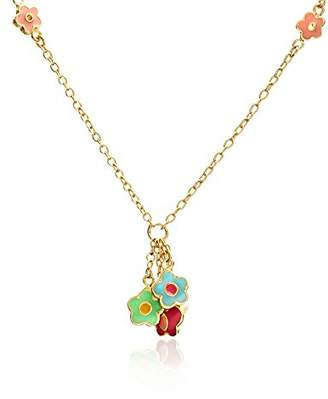 Little Miss Twin Stars 14k Gold-Plated color Enamel Butterfly and Flower Dangle Chain Necklace