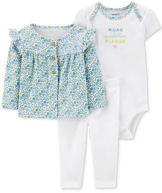 Carter's Carter Baby Girls 3-Pc. Printed Ruffle Cardigan, Bodysuit & Pants Set