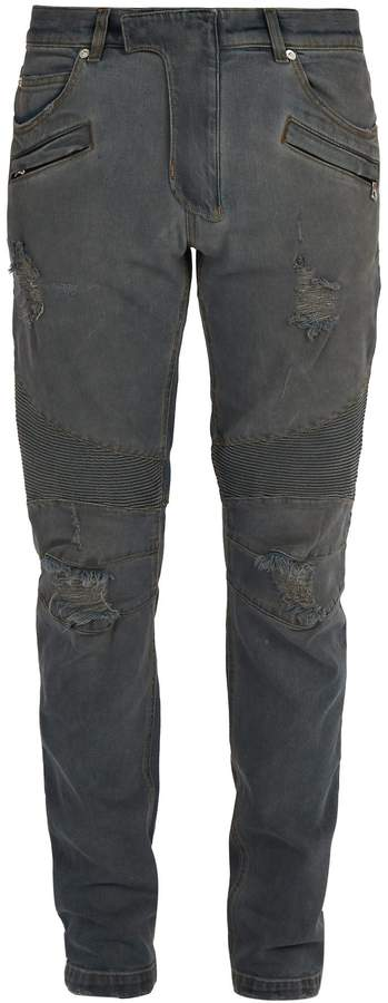 BALMAIN Distressed slim-fit jeans