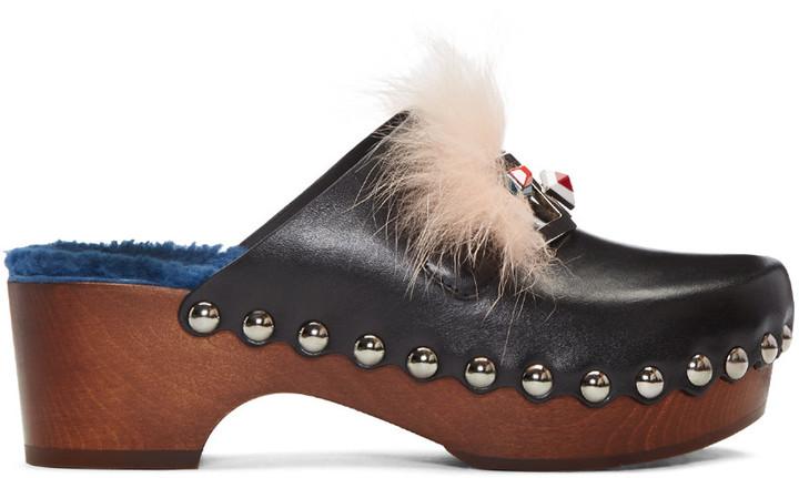 Fendi Black 'Fendi Faces' Clog Heels