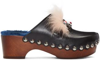 Fendi Black 'Fendi Faces' Clog Heels $950 thestylecure.com