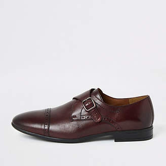 River Island Dark red leather monk strap brogue shoes