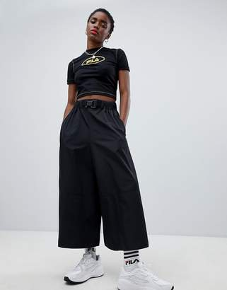 Asos DESIGN wide leg culottes in sporty fabric with belt