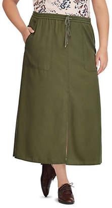 Lauren Ralph Lauren Plus Slit Drawstring Maxi Skirt