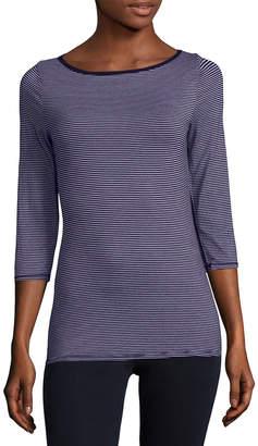 Three Dots Stripe Three-Quarter T-Shirt