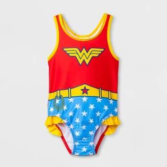 Warner Bros. Toddler Girls' DC Comics Wonder Woman One Piece Swimsuit - Red