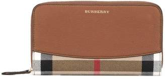 Burberry house check zip around wallet