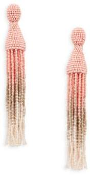 Oscar de la Renta Long Ombre Beaded Drop Earrings