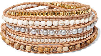 Chan Luu Leather Multi-stone Wrap Bracelet - Beige