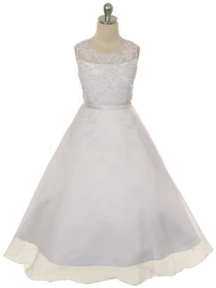 Kids Dream Aubree- Sequined Organza Overlay Dress White