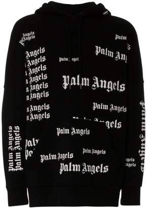 Palm Angels all over logo print cotton hoodie
