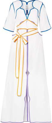 Rosie Assoulin Belted Color-block Cotton-poplin Maxi Dress - White