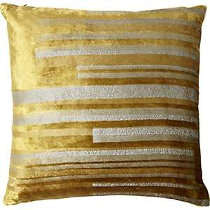 Kevin OBrien Kevin O'Brien Stripe Velvet Pillow - Gold