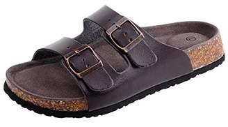 Shoeslocker Women's Open-Toe Faux-Leather Flat Dual Adjustable Cork Sandals Black US