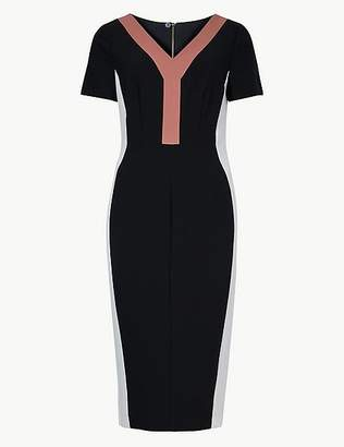 Marks and Spencer Colour Block Short Sleeve Bodycon Dress