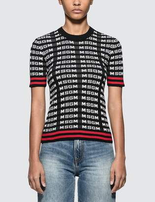 MSGM All Over Logo Sport Ribbed Knit Top