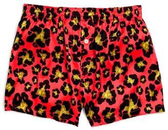 DSQUARED2 Leopard-Print Stretch Silk Boxers