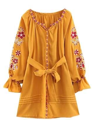Goodnight Macaroon 'Makayla' Bohemian Print Tied Front Dress