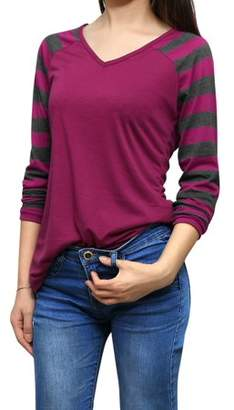 Allegra K Women's Striped Long Raglan Sleeves V Neck Casual Tee