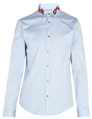 Gucci Snake Applique Cotton Shirt - Mens - Blue