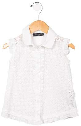 Blumarine Girls' Ruffled Eyelet Top