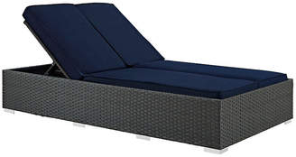 One Kings Lane Hayden Double Chaise - Gray/Navy