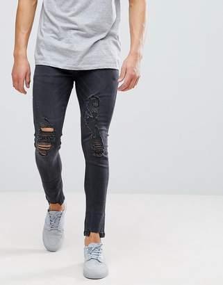 Brave Soul Skinny Frayed Ripped Jeans