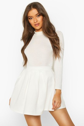 boohoo Basic Scuba Mini Skater Skirt