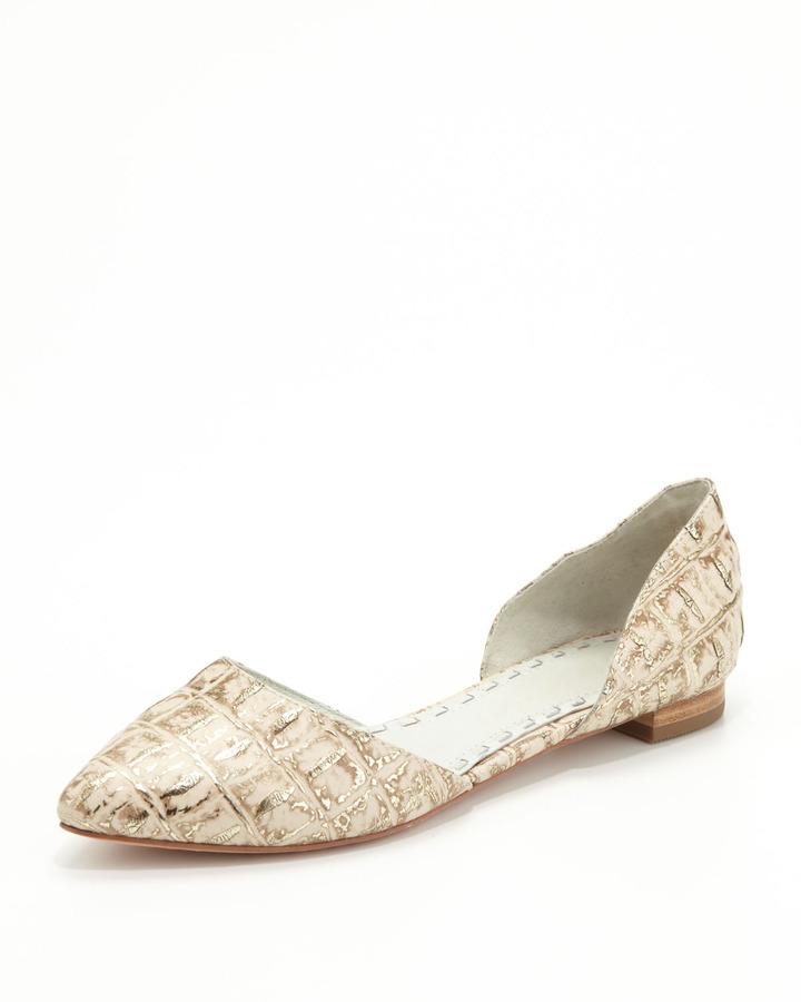 Alice + Olivia Hillary Metallic Crocodile-Embossed d'Orsay Flat