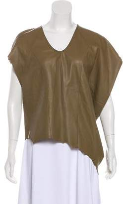 Helmut Lang Leather Asymmetrical Top